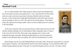 Print <i>Baseball Cards</i> reading comprehension.