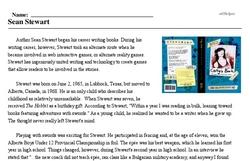 Print <i>Sean Stewart</i> reading comprehension.