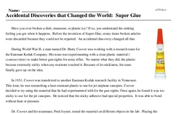 Print <i>Accidental Discoveries that Changed the World: Super Glue</i> reading comprehension.