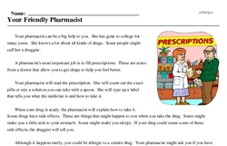 Print <i>Your Friendly Pharmacist</i> reading comprehension.