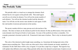 Print <i>The Periodic Table</i> reading comprehension.