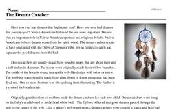 Print <i>The Dream Catcher</i> reading comprehension.