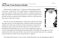 Print <i>The Prom: From Dream to Reality</i> reading comprehension.