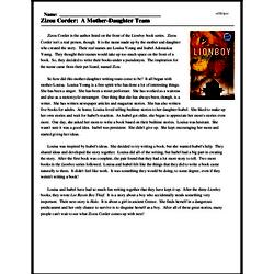 Print <i>Zizou Corder: A Mother-Daughter Team</i> reading comprehension.
