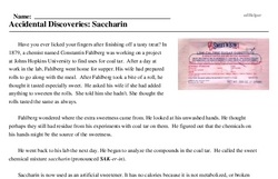 Print <i>Accidental Discoveries: Saccharin</i> reading comprehension.