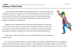 Print <i>Mystery of the Letter</i> reading comprehension.