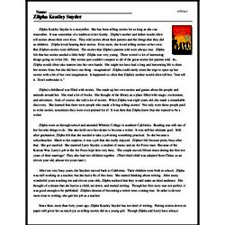 Print <i>Zilpha Keatley Snyder</i> reading comprehension.