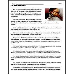 Print <i>Go Wash Your Face!</i> reading comprehension.