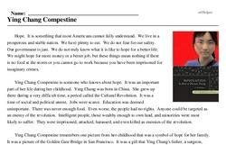 Print <i>Ying Chang Compestine</i> reading comprehension.