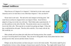 Print <i>Animal Antifreeze</i> reading comprehension.
