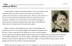 Print <i>Ambrose Bierce</i> reading comprehension.