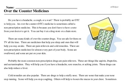 Print <i>Over the Counter Medicines</i> reading comprehension.