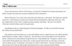 Print <i>The Crittercam</i> reading comprehension.