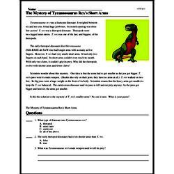 Print <i>The Mystery of <i>Tyrannosaurus Rex's</i> Short Arms</i> reading comprehension.
