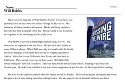 Print <i>Will Hobbs</i> reading comprehension.