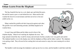 Print <i>Ethan Learns from the Elephant</i> reading comprehension.