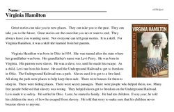 Print <i>Virginia Hamilton</i> reading comprehension.