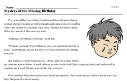 Print <i>Mystery of the Missing Birthday</i> reading comprehension.