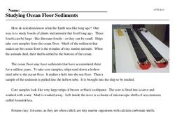 Print <i>Studying Ocean Floor Sediments</i> reading comprehension.