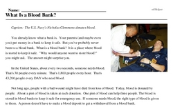 Print <i>What Is a Blood Bank?</i> reading comprehension.