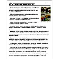 Print <i>How Do Crayons, Paint, and Markers Work?</i> reading comprehension.