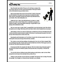 Print <i>Dog Training Tips</i> reading comprehension.