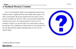 Print <i>A Mythical Mystery Creature</i> reading comprehension.