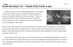 Print <i>Bombs Bursting in Air -- Sounds of the Fourth of July</i> reading comprehension.