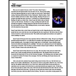 Print <i>Susan Cooper</i> reading comprehension.