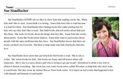 Print <i>Sue Stauffacher</i> reading comprehension.