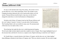 Print <i>Thomas Jefferson's Edit</i> reading comprehension.