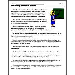 Print <i>The Mystery of the Smart Teacher</i> reading comprehension.