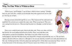 Print <i>Why No One Wins a Whine-a-thon</i> reading comprehension.