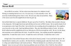 Print <i>Steven Kroll</i> reading comprehension.