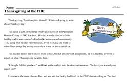 Print <i>Thanksgiving at the PHC</i> reading comprehension.
