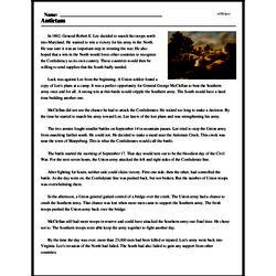 Print <i>Antietam</i> reading comprehension.