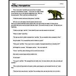 Print <i>Meeting a Marsupial Lion</i> reading comprehension.