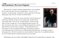 Print <i>Sid Fleischman: The Great Magician</i> reading comprehension.