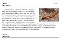 Print <i>Centipedes</i> reading comprehension.