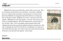 Print <i>Millipedes</i> reading comprehension.