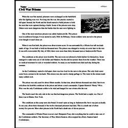 Print <i>Civil War Prisons</i> reading comprehension.