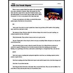 Print <i>Mardi Gras Parade Etiquette</i> reading comprehension.
