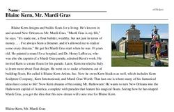 Print <i>Blaine Kern, Mr. Mardi Gras</i> reading comprehension.