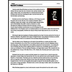 Print <i>Russell Freedman</i> reading comprehension.