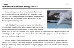 Print <i>How Does Geothermal Energy Work?</i> reading comprehension.