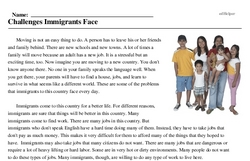 Print <i>Challenges Immigrants Face</i> reading comprehension.