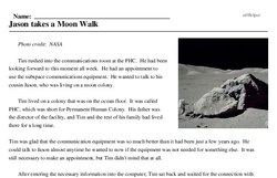 Print <i>Jason takes a Moon Walk</i> reading comprehension.
