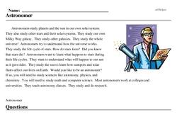 Print <i>Astronomer</i> reading comprehension.