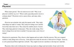 Print <i>Physicist</i> reading comprehension.