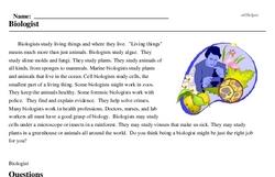 Print <i>Biologist</i> reading comprehension.